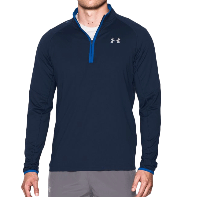 《UA出清5折》Shoestw【1285037-410】UNDER ARMOUR UA服飾 長袖 運動上衣 半開襟 深藍色 男生