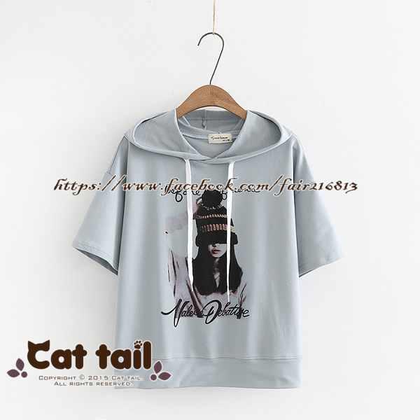 《貓尾巴》TS-0707韓版街頭人物印花連帽短袖T恤(森林系日系棉麻文青清新)