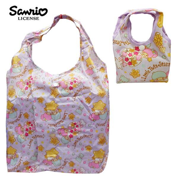 紫色款【日本正版】雙子星摺疊購物袋環保袋手提袋防潑水KIKILALA三麗鷗Sanrio-466992