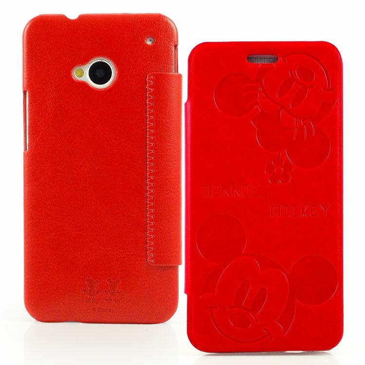 【Disney 】NEW HTC ONE可愛米奇米妮時尚壓紋皮套