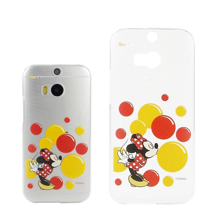 【Disney 】HTC One (M8) 彩繪透明保護殼-米妮泡泡