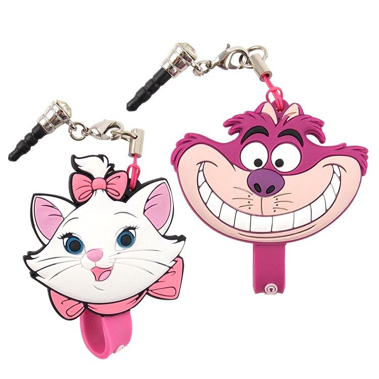 【Disney】 可愛造型耳機防塵塞吊飾捲線器-瑪麗貓/柴郡貓