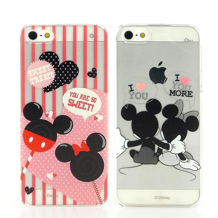 【Disney 】iPhone SE/i5/i5s 彩繪可愛透明保護殼-米奇米妮/棒棒糖