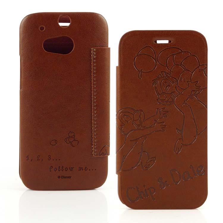 【Disney 】HTC One (M8) Chip n Dale奇奇蒂蒂時尚壓紋皮套