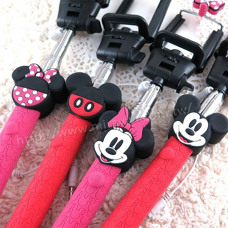 【Disney 】立體造型伸縮線控自拍棒/自拍神器(不需充電)-情侶系列