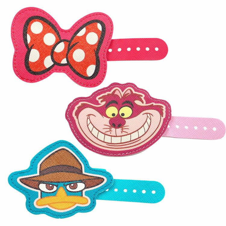 【Disney】 多用途可愛造型皮革捲線器-蝴蝶結/泰瑞/柴郡貓