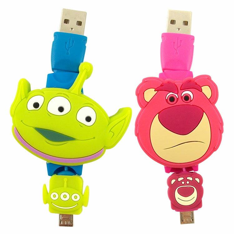 【Disney】 Micro USB 玩具總動員TOYS 伸縮傳輸線-三眼怪  熊抱哥