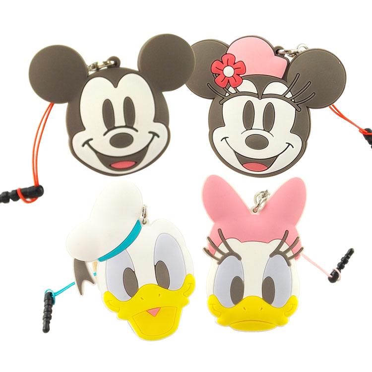 【Disney】 多功能可愛造型夾子式耳機防塵塞捲線器吊飾-復古系列