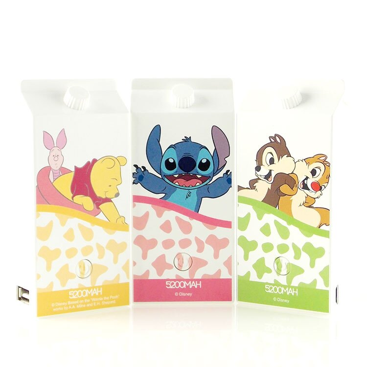 【Disney】5200mAh 可愛牛奶盒造型彩繪行動電源-牛奶系列