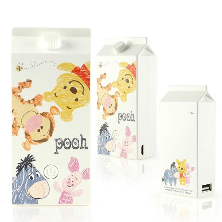 【Disney】5200mAh 可愛牛奶盒造型彩繪行動電源-手繪風