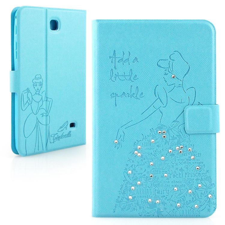 【Disney 】Samsung Galaxy Tab 4 7.0 (Tab4 7.0/T2397共用) 公主系列Cinderella灰姑娘時尚手繪風水鑽壓紋皮套