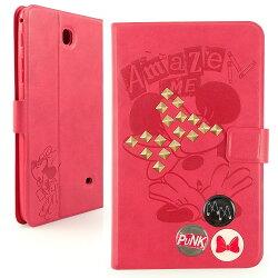 【Disney 】Samsung Galaxy Tab 4 7.0 (Tab4 7.0/T2397共用) 時尚搖滾鉚釘米妮壓紋可立式皮套