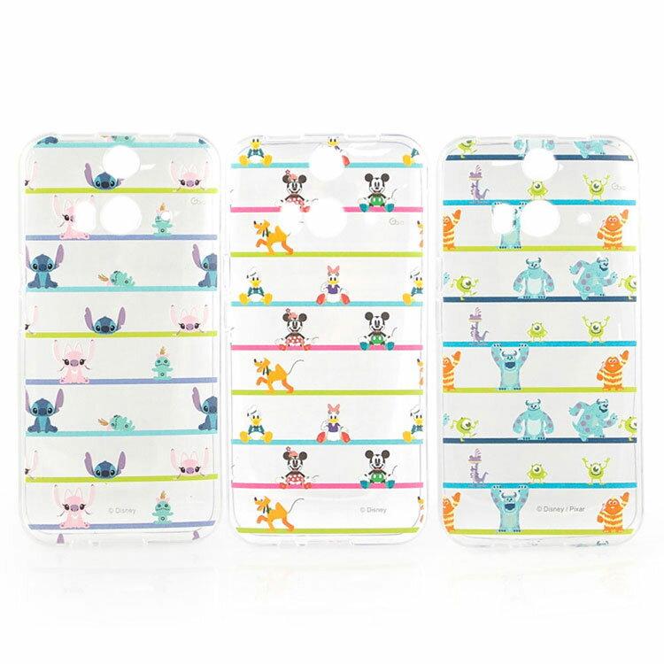 【Disney 】HTC Butterfly 2 彩繪可愛條紋透明保護套-史迪奇/怪獸大學/米奇