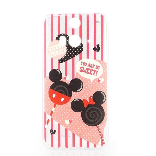 【Disney】HTCButterfly2彩繪可愛透明保護套-棒棒糖