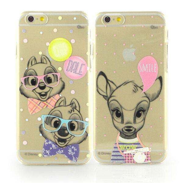 【Disney】iPhone6彩繪素描風透明保護硬殼-時尚斑比時尚奇奇蒂蒂