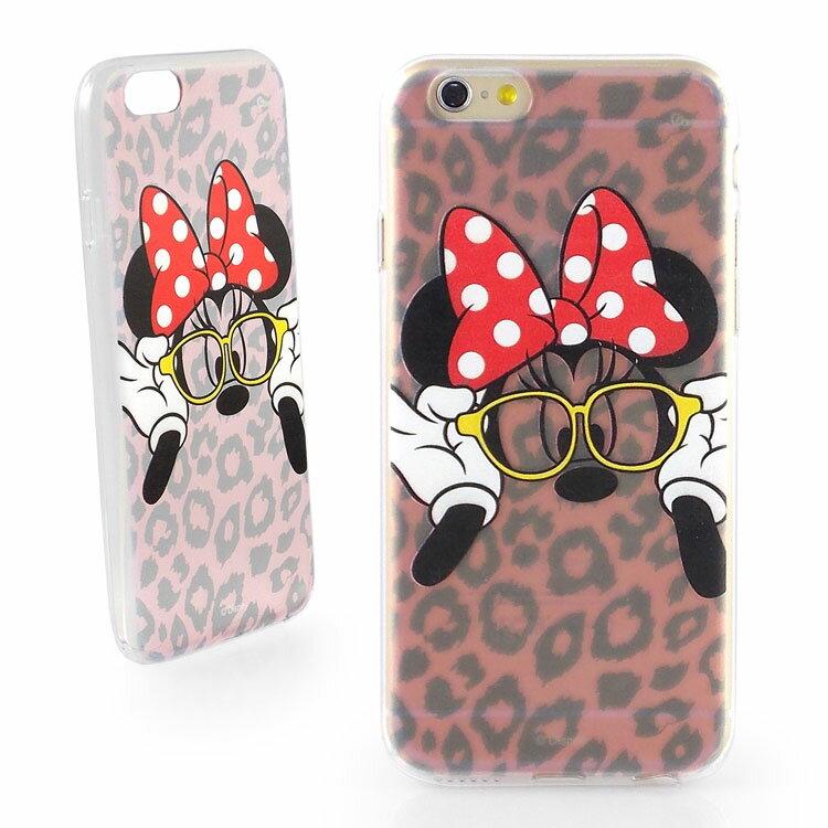【Disney 】iPhone 6 彩繪豹紋系列透明保護軟套-時尚米妮