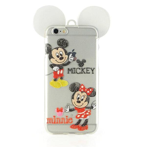 【Disney】iPhone6耳朵造型彩繪透明保護軟套-手繪風系列