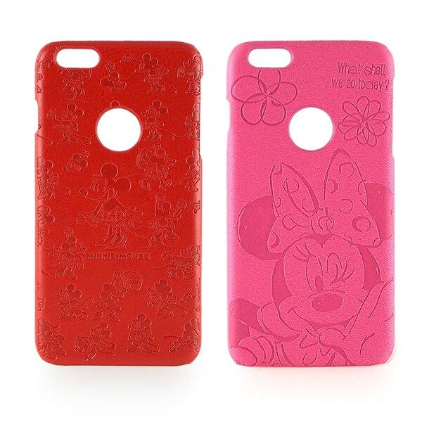 【Disney】iPhone6plus高質感皮革壓紋背蓋保護殼-米妮