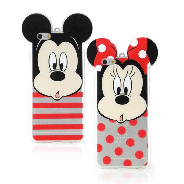 【Disney】iPhone6plus耳朵造型彩繪透明保護軟套-大臉系列
