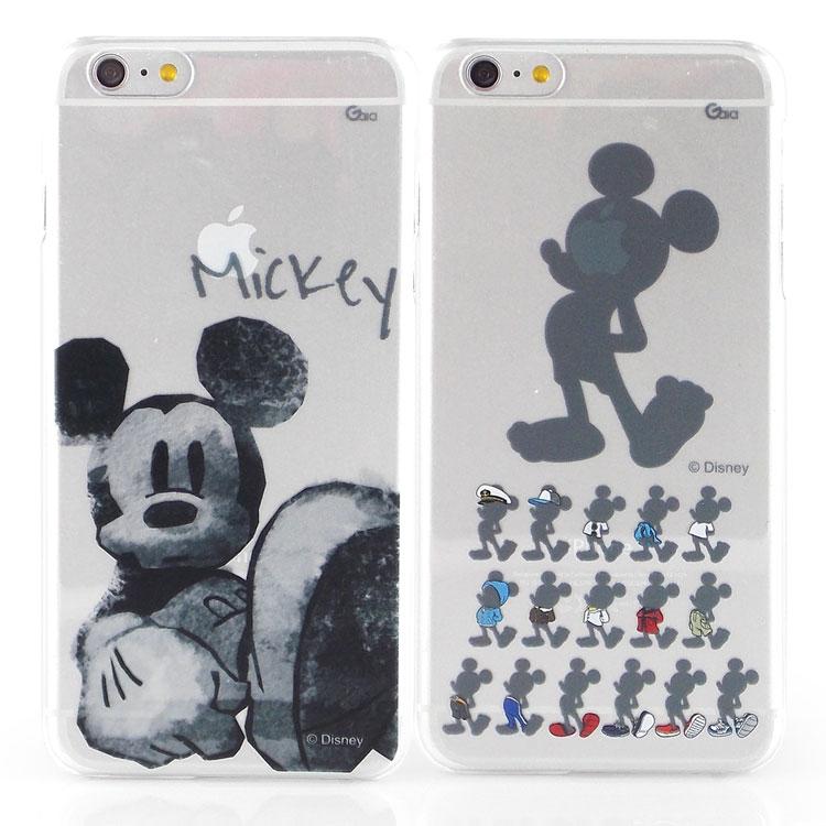 【Disney 】iPhone 6 plus 彩繪手繪風透明保護硬殼-剪影米奇/水墨米奇