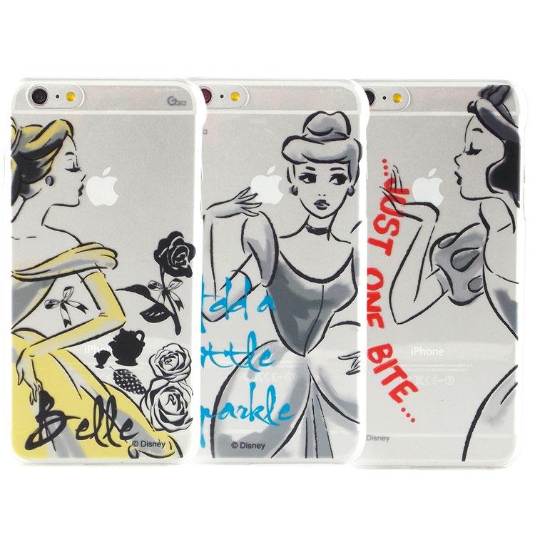 【Disney 】iPhone 6 plus 彩繪公主系列透明保護硬殼-水墨風