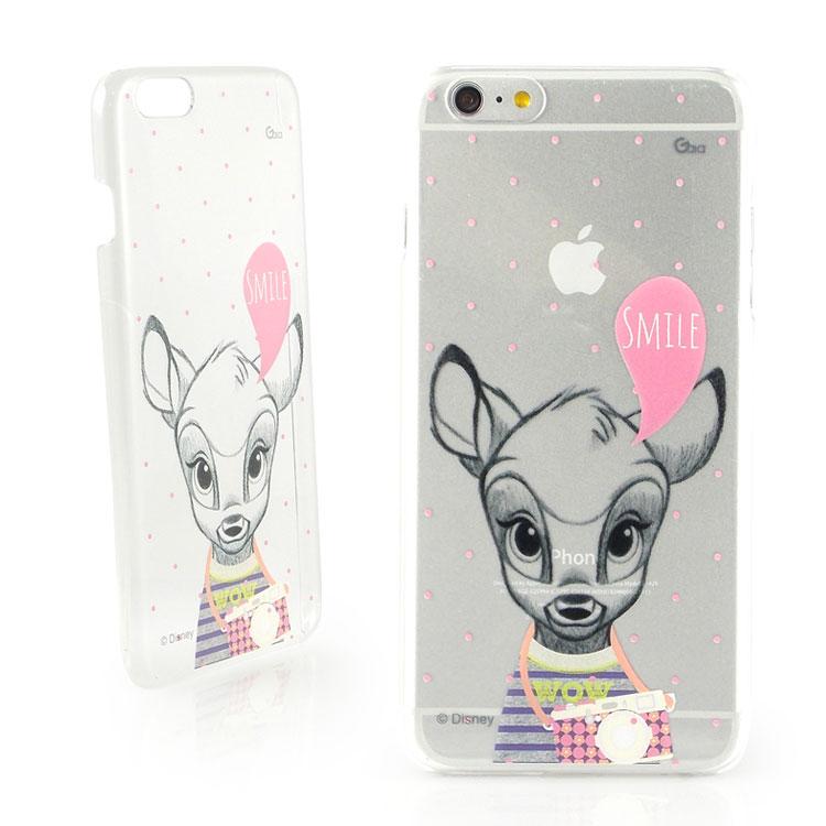 【Disney 】iPhone 6 plus 彩繪素描風透明保護硬殼-時尚斑比