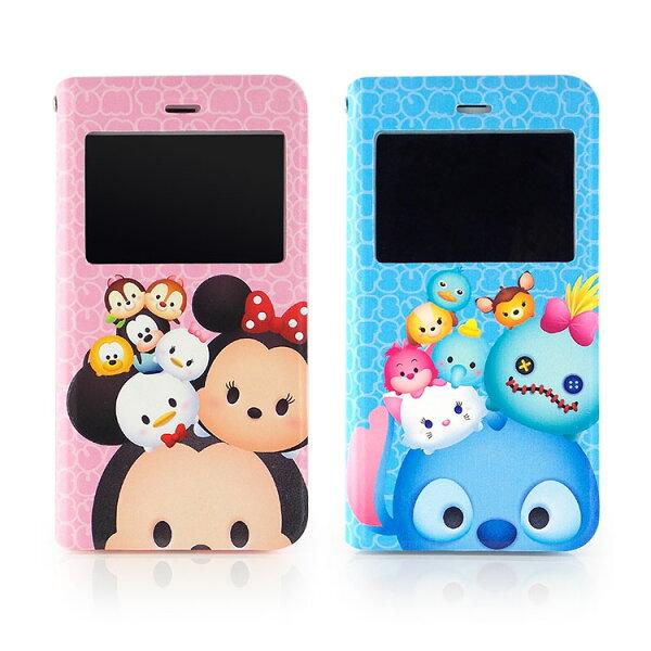 【Disney】iPhone6plusTSUMTSUM透視視窗彩繪可立式皮套