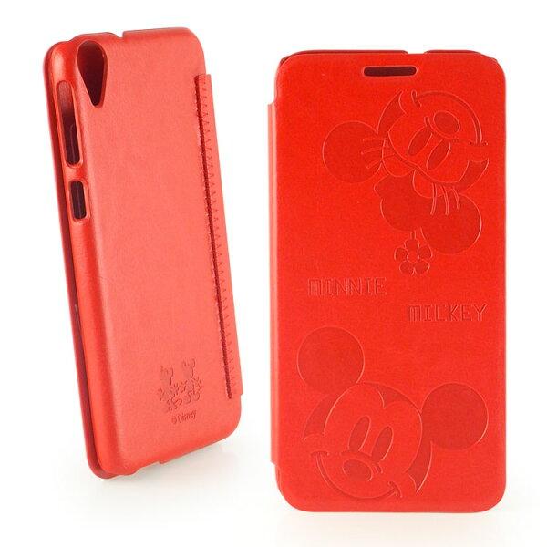 【Disney】HTCDesire820dualsim可愛米奇米妮時尚壓紋皮套