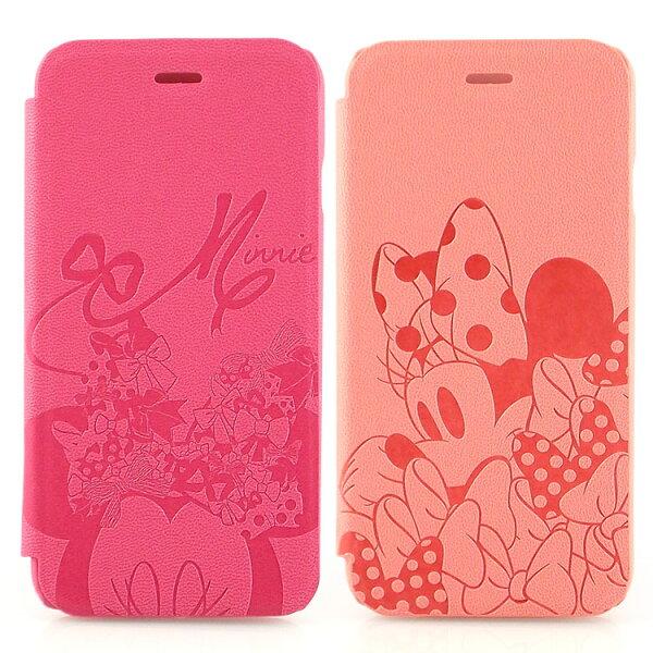 【Disney】iPhone6時尚米妮蝴蝶結壓紋皮套