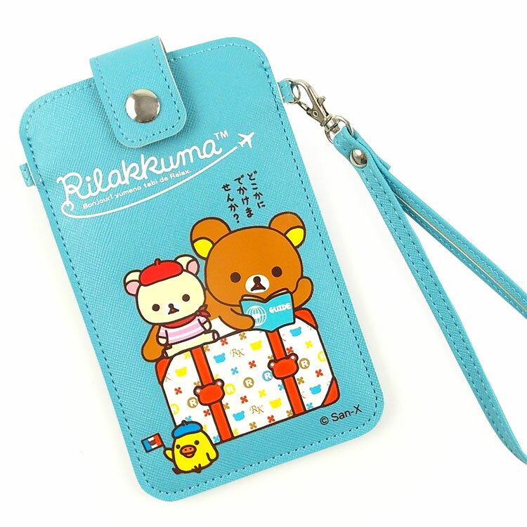 Rilakkuma 拉拉熊/懶懶熊 5吋通用彩繪皮革手機袋-GO旅行去