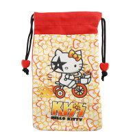 凱蒂貓週邊商品推薦到【KISS HELLO KITTY 】4.7吋通用繽紛雙層收納束口袋-蝴蝶結腳踏車