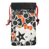 凱蒂貓週邊商品推薦到【KISS HELLO KITTY 】4.7吋通用時尚雙層收納束口袋-華麗蝴蝶結