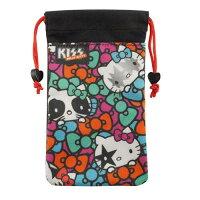 凱蒂貓週邊商品推薦到【KISS HELLO KITTY 】4.7吋通用搖滾雙層收納束口袋-彩色蝴蝶結