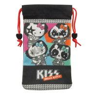 凱蒂貓週邊商品推薦到4.7吋通用搖滾雙層收納束口袋-KISS樂團【KISS HELLO KITTY 】