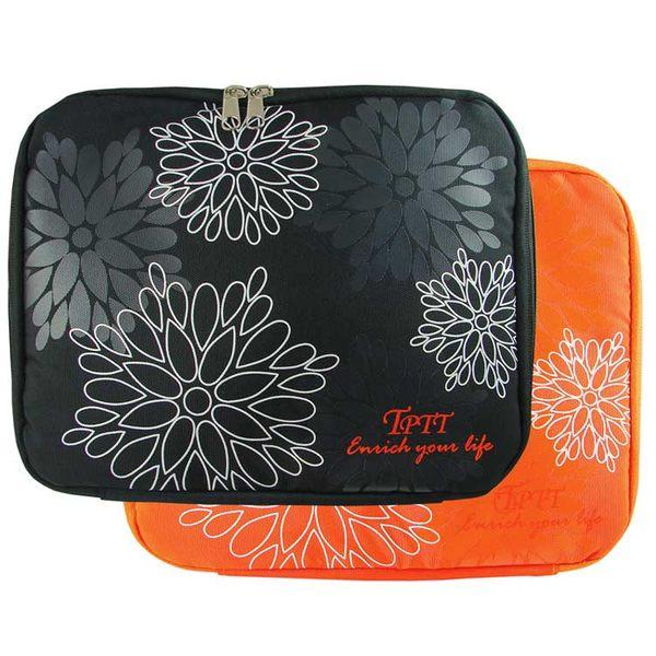 時尚花漾可提式10吋小筆電NB包-黑/橘-送筆電散熱器
