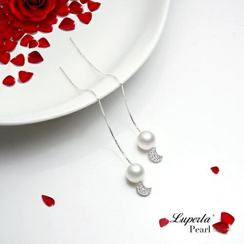 大東山珠寶 純潔月光 日本AKOYA天然海水珍珠純銀晶鑽耳環 雙珠耳線兩用款 3