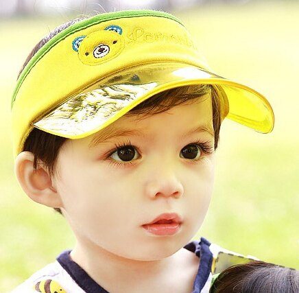 Lemonkid◆可愛小熊字母刺繡防紫外線好視線兒童防曬遮陽空頂帽-黃色