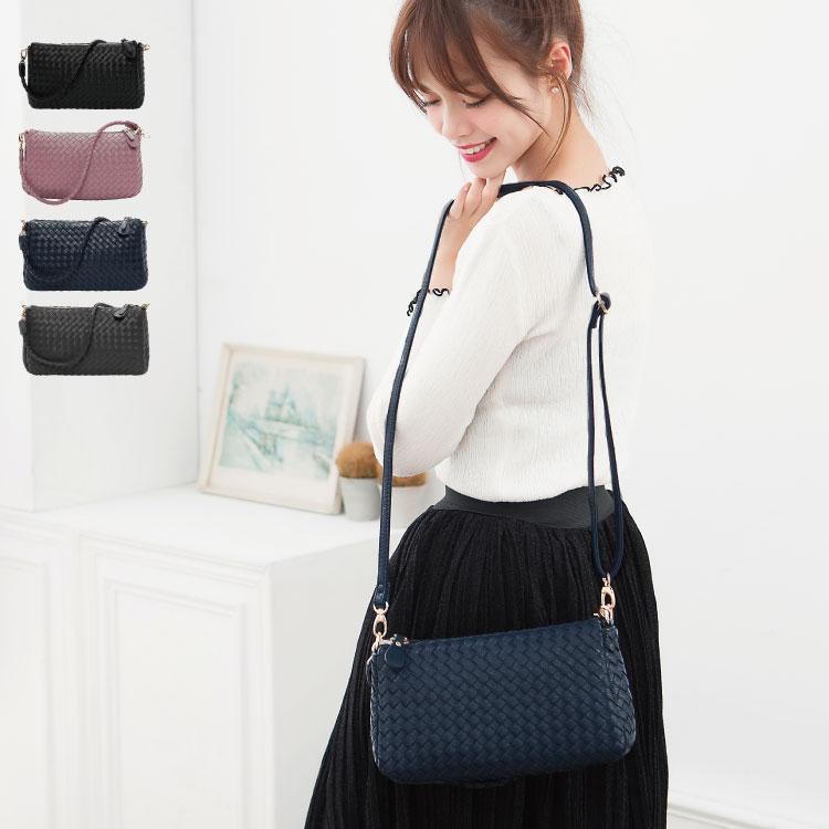 側背包 編織包 雙夾層兩用斜背包(附長帶) 女包  89.Alley ☀4色 2