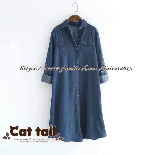 《貓尾巴》LZ-02940簡約雙口袋翻領牛仔長袖連身裙(森林系日系棉麻文青清新)