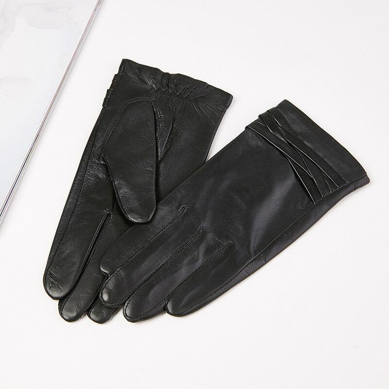 觸控手套真皮手套-交叉編織山羊皮薄款女手套73wm68【獨家進口】【米蘭精品】 1