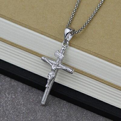 925純銀項鍊吊墜~ 風耶穌受難十字架七夕情人節 女飾品73gm81~ ~~米蘭 ~