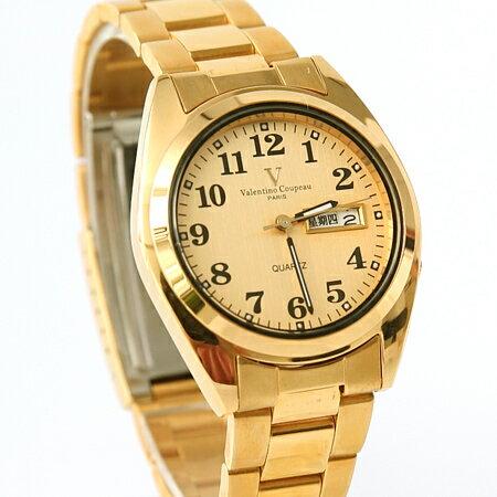 范倫鐵諾Valentino 金色不鏽鋼手錶 日期窗.星期窗.黑色數字 柒彩年代~NE185