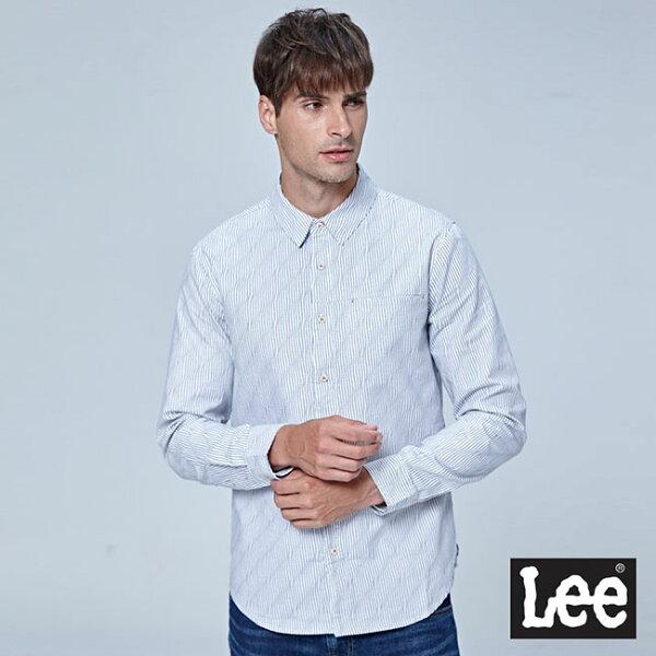Lee波浪條紋印花長袖襯衫BK-白色