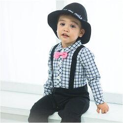 Augelute Baby 假吊帶紳士細格紋連身衣 60333