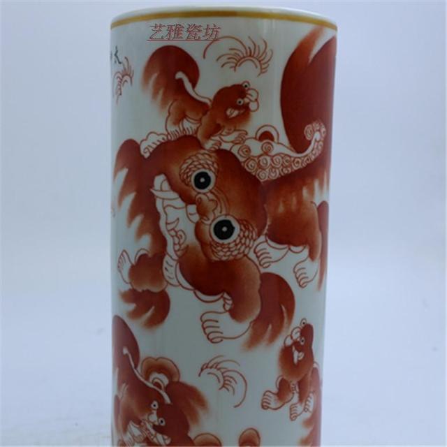 景德鎮陶瓷民國手繪太師少保礬紅描金帽筒一對 古玩瓷器老貨收藏1入