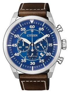 CITIZEN星辰錶CA4210-41L三眼時尚光動能飛行計時腕錶藍面45mm