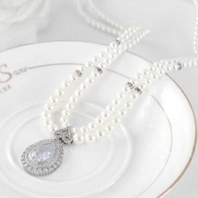 ~925純銀項鍊 鍍白金鑲鑽吊墜~古典珍珠優雅風格情人節生日 女飾品4色73ct88~ ~