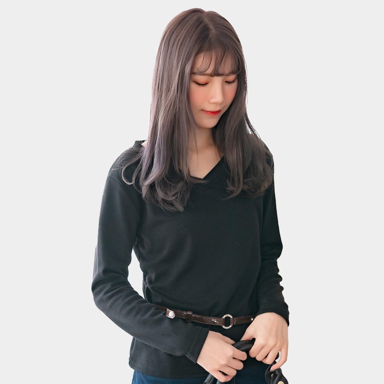 加大尺碼--保暖舒適百搭素色加絨V領長袖T恤上衣(黑.紅.咖.紫M-3L)-F162眼圈熊中大尺碼 3