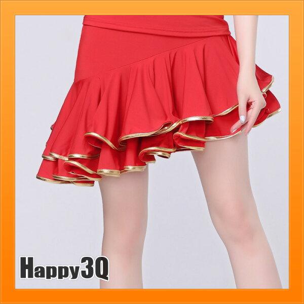 拉丁舞裙跳舞裙子短裙舞蹈裙練舞百褶裙子團體舞蹈服大尺碼-紅黑S-3XL【AAA3977】