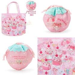 【真愛日本】4901610257197 環保購物袋附收納袋-MM草莓AEI 美樂蒂melody 草莓系列 環保袋 手提袋 購物袋 提袋